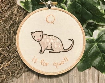 Q is for Quoll Alphabet Art - Embroidered Hoop Art - Q Name Gift - Baby Shower Gift - Nursery Art - Baby Gift