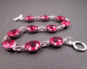 Rhinestone Bracelet, Bright Pink Glass Stones, Silver Beaded Bracelet, FREE Shipping U.S.