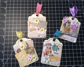 Easter Tags, Set of 4,  Authentique paper