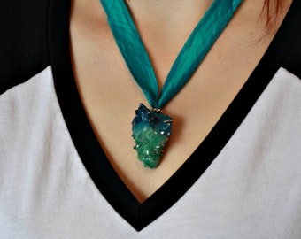 Blue and emerald green aura quartz necklace, ribbon crystal necklace, ethical jewelry, aura quartz jewelry, crystal jewelry, gift for her