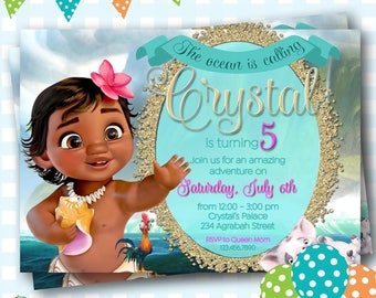 Moana Invitation, Moana Birthday Party, Moana Birthday Invitation, Disney Princess Moana, Printable Moana Party Invite, Digital Moana Invite