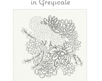 GREYSCALE succulent fabric for embroidery by StudioMME, succulent garden, bouquet