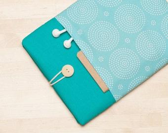 """Macbook 12 case sleeve / MacBook 12 inch sleeve, Custom laptop sleeve, 12"""" laptop - Turquoise"""