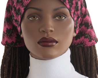 Pink Black African Print Cotton Dread Locks Tie Back Scarf Natural Hair Scarf Long Braids Scarf Twists Chemo Scarf Tichel Scarf Handmade