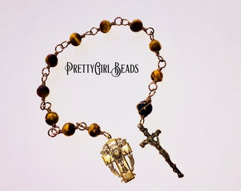 Unbreakable decade Chaplet, Catholic Rosary, mans rosary, wire wrapped Tenner, Bronze Chaplet