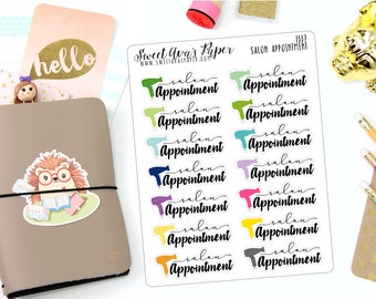 Hair Appointment Planner Stickers - Typography Planner Stickers - Script Planner Stickers - Salon Planner Stickers - 1337
