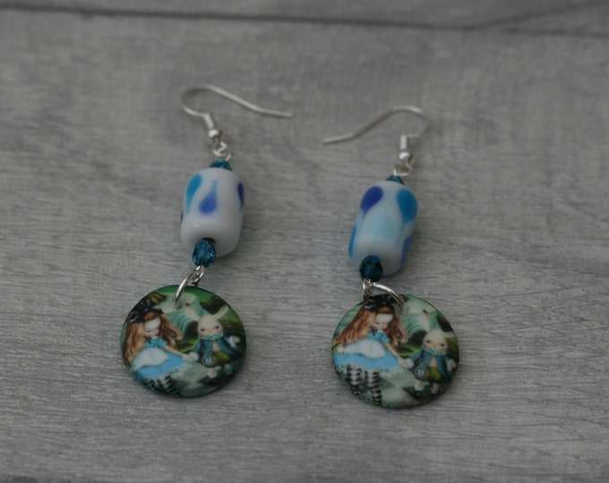 Alice in Wonderland Statement Earrings, Alice and White Rabbit Jewelry