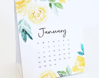 2018 Calendar - Watercolor Desk Calendar with Floral Watercolor and Calligraphy Script Font, Teacher Gift, Stocking Stuffer