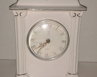 1993 Paul Sebastian Ceramic Clock  PS Limited Edition Ceramic Porcelain CLOCK White with Roses