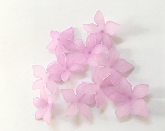 Lucite Acrylic Beads 12 pcs, Frosted, Dyed, Flower, acrylic flower beads 27x29mm, lucite flower beads, acrylic flowers, purple flower beads