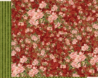 Graphic 45 Floral Shoppe-Burgundy Blossoms-Double-sided sheet 12x12 cover-weight-acid and lignin free