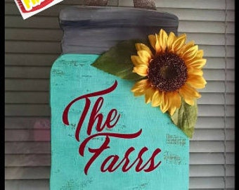 Large personalized Mason jar door hanger, sunflower rustic, door hanger Teal farm country FREE SHIPPING