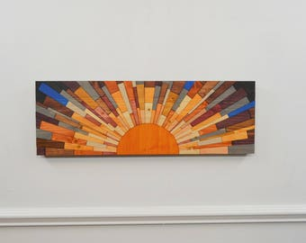 "wood wall art - ""A Sunny Day"" 36x12 wood wall art, wall art, modern art, wood wall hanging, stainsandgrains, Jeremy Gould, sunset, sunrise"