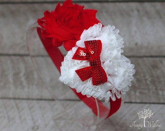 Valentines Day Headband - Red and White Valentines Day Headband - Heart Headband - White and Red Headband - Baby Headband - Adult Headband