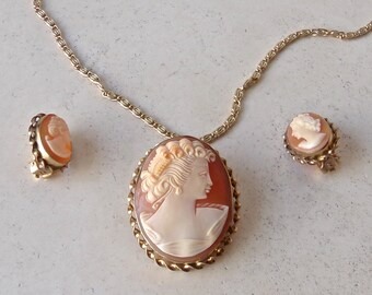 Vintage Cameo Necklace Brooch Earring Set 12KGF 1960s Free Shipping US