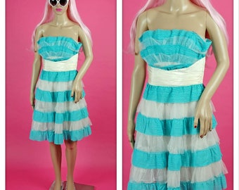 Vintage Betsey Johnson Lace and Tulle Princess Prom Mini Aqua Blue and White Dress