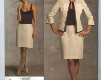 Misses Sewing Pattern Vogue V1028 1028 Donna Karan New York DKNY Drop Waist Dress Jacket Suit Size 6 8 10 12 Bust 30 31 32 33 34 UNCUT  99
