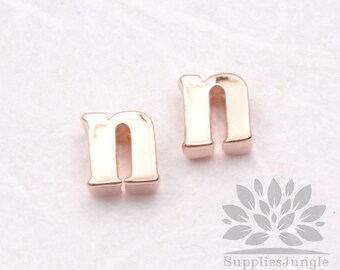 """IP003-GRG-N// Glossy Rose Gold Plated Simple Lower Case Initial """"n"""" Pendant, 2 pcs"""