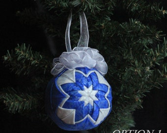 Blue and Silver Quilted Ornament - No-sew ornament - Home decor, Christmas, Michael Miller, Fairy Frost RTS, Ready to ship