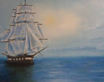 Framed Original Oil Painting 119x60 cm (46.85 x 23.62 inch) Handmade Oil Painting, Boat in the Sea Theme Modern Oil Picture on Cotton Canvas