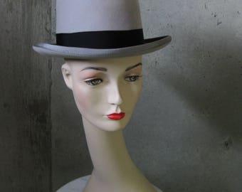 Vintage Derby Bowler Grey Wool Felt Grosgrain 1960s 1970s Millinery Accessory Men's