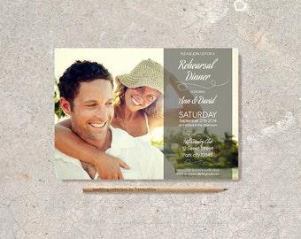 Wedding Rehearsal Dinner Invitation Printable, Photo Wedding Rehearsal Invitation, Modern Rehearsal Invitation, Digital File