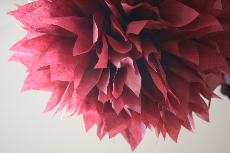 tissue paper pompom BURGUNDY wedding nye decorations vintage