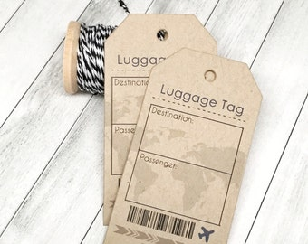 Compass Luggage Tag Etsy - Travel name tag template