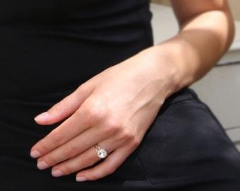Gold ring, wedding ring, stacking ring, vintage ring, stackble ring, clear crystal ring, stackble gold ring, Wedding Jewelry
