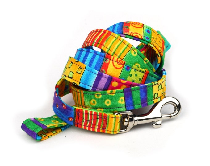 Colorful Dog Leash - Happy Go Lucky Stripe - 5 Feet Long