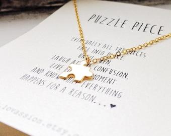 Tiny Puzzle Piece Necklace, puzzle necklace, puzzle jewelry, gold puzzle piece necklace, autism awareness, puzzle quote necklace
