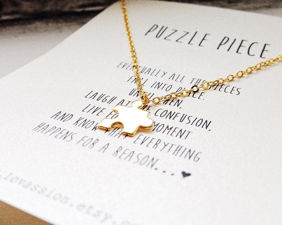 Tiny Puzzle Piece Necklace puzzle necklace puzzle jewelry