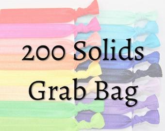 Bulk Hair Ties, 200 Solid Hair Ties - GRAB BAG - Handmade Hair Ties - Ponytail Holders - FOE - Hair Bands - Fold Over missponytail