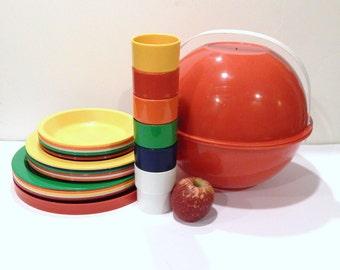 Vintage Picnic Ball - Ingrid Picnic Ball - Mod - Red Picnic Carrier - Vintage Picnic
