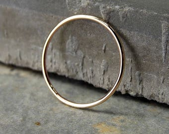 14K Yellow Gold Ring, Extra Skinny Yellow Gold Stacking Ring, Full-Round Stacking Ring, Solid 14K Yellow Gold Ring, Made to Order