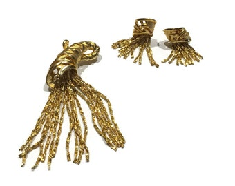 Demi-parure dangling chain brooch and clip on earrings gold tone jewelry
