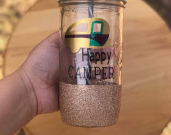 Happy camper mason jar tumbler!!!