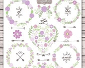Wedding Flower Clipart Rustic Shabby Chic Purple Lavender Wood Invitation INSTANT DOWNLOAD