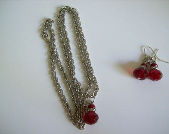 Red Stone Necklace & Earring Set Nichol Free Chain and Wires Stones are Acrylic 25 Inch Chain