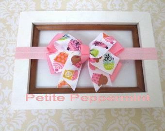 Pink Cupcake Baby Headband, Baby bow headband, Newborn Headband Toddler Headband, Girl Headband, Baby hair bow, infant headband