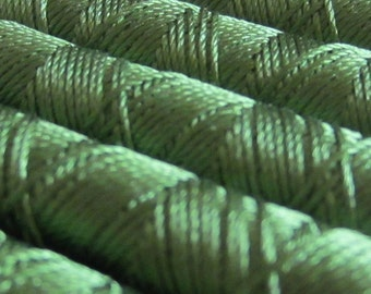 SILKA natural silk embroidery thread, spool of 32 ft (10m), GREEN 1011