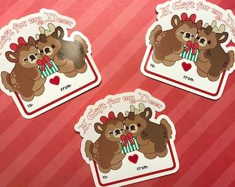A Gift for my Deer - Kawaii Reindeer Nugget Christmas Gift Tag Sticker