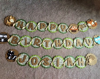 Woodland animal birthday banner with high chair banner