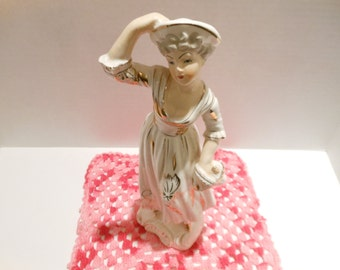 Vintage Woman/White Porcelain W/ Gold Trim & Accents/Figurine/1950s