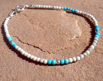 White Bracelet - Sterling Silver Jewelry - Turquoise Howlite Natural Gemstone Jewellery - Skinny - Layer - Thin - Stack B-TBM