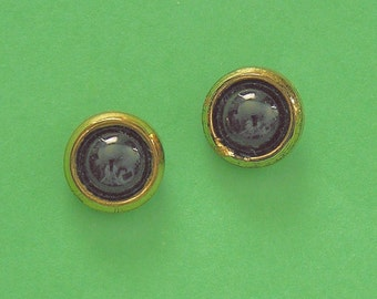 Mid 1900s Black Glass Button Post Earrings