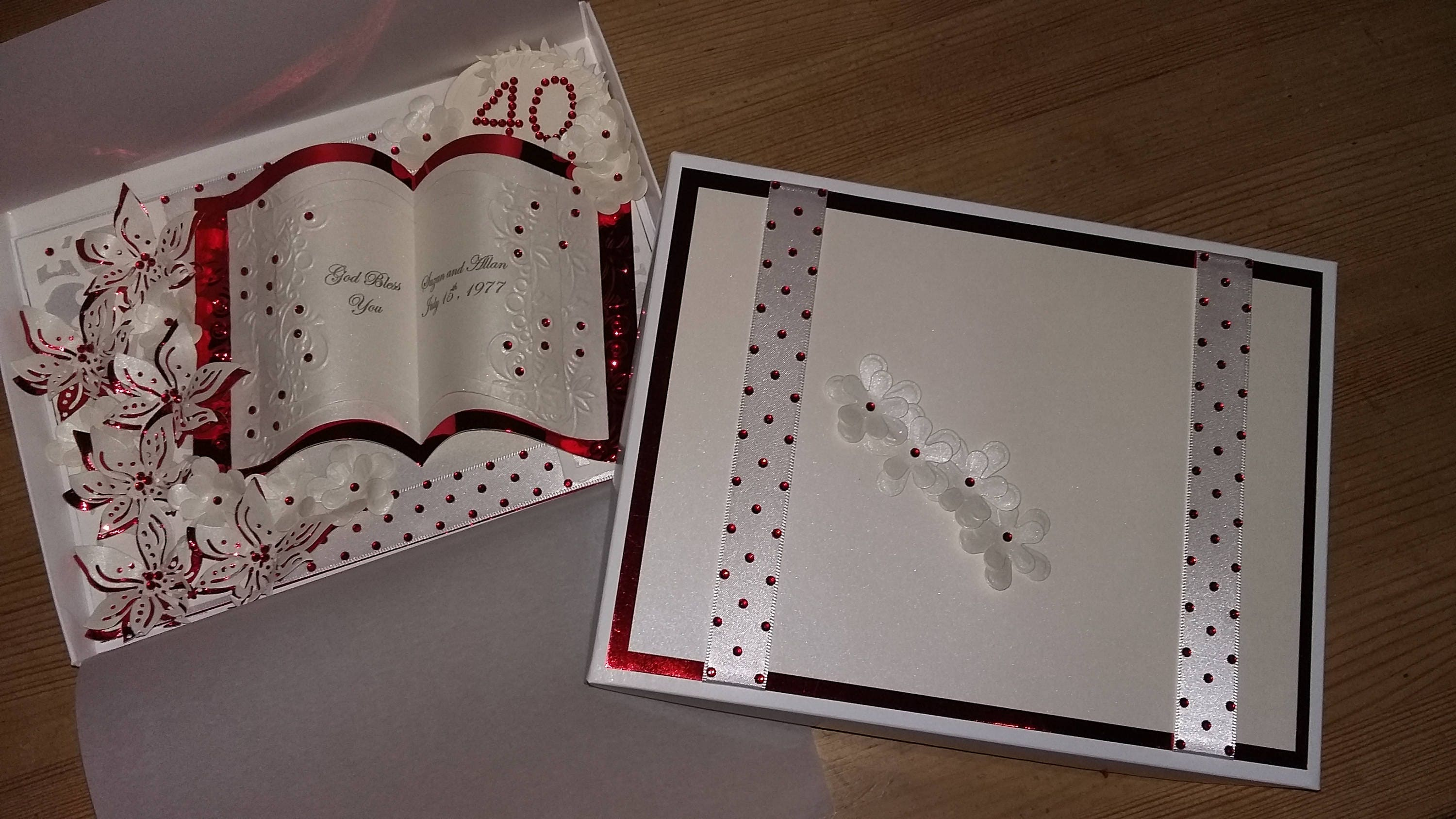 40th anniversary card ruby handmade personalised