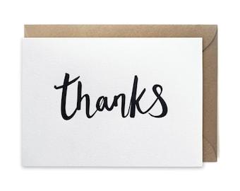 Thank you card, letterpress, handmade - Thanks script