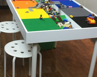 Tall large Building bricks table, kids building blocks table , kids large Lego® Table, activity table, train table, Lego table with storage