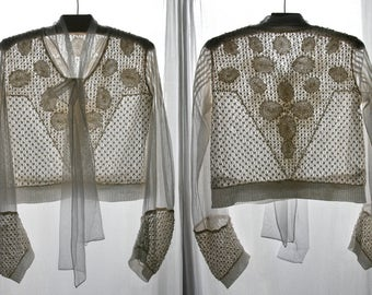 RESERVED Antique off- white bodice, hand stitched, Crochet, lined with mesh, 1900's.